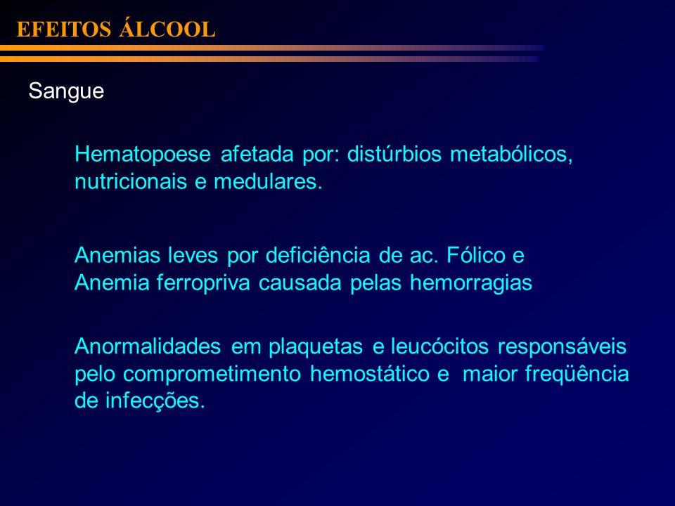 EFEITOS ÁLCOOLSangue. Hematopoese afetada por: distúrbios metabólicos, nutricionais e medulares. Anemias leves por deficiência de ac. Fólico e.