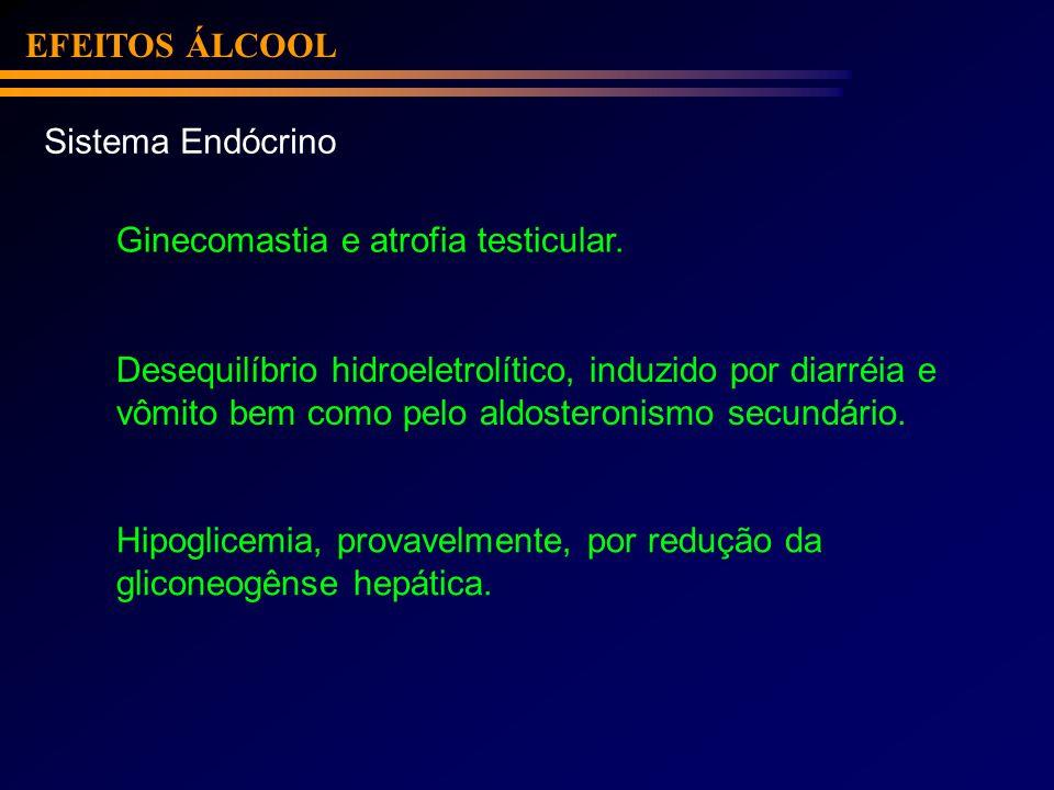 EFEITOS ÁLCOOLSistema Endócrino. Ginecomastia e atrofia testicular. Desequilíbrio hidroeletrolítico, induzido por diarréia e.