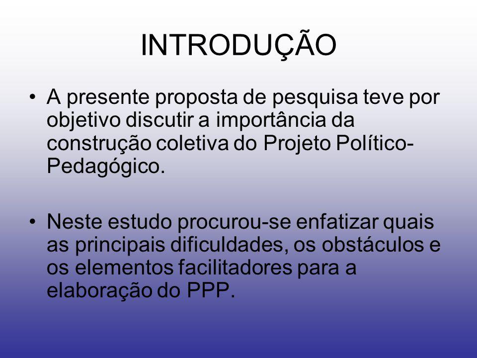 INTRODUÇÃO A presente proposta de pesquisa teve por objetivo discutir a importância da construção coletiva do Projeto Político-Pedagógico.