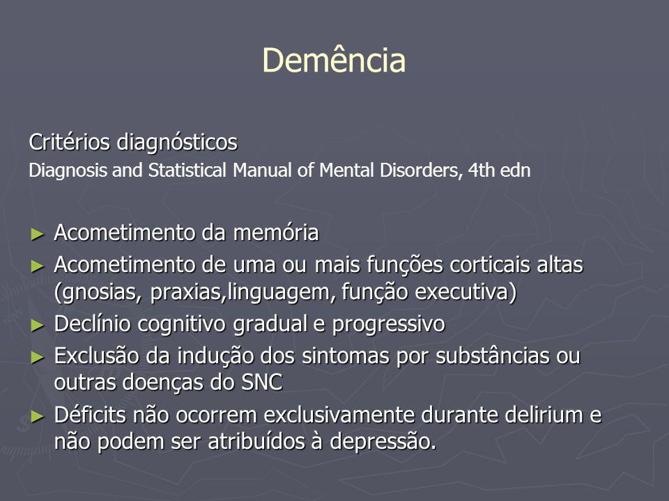 Demência Critérios diagnósticos Acometimento da memória
