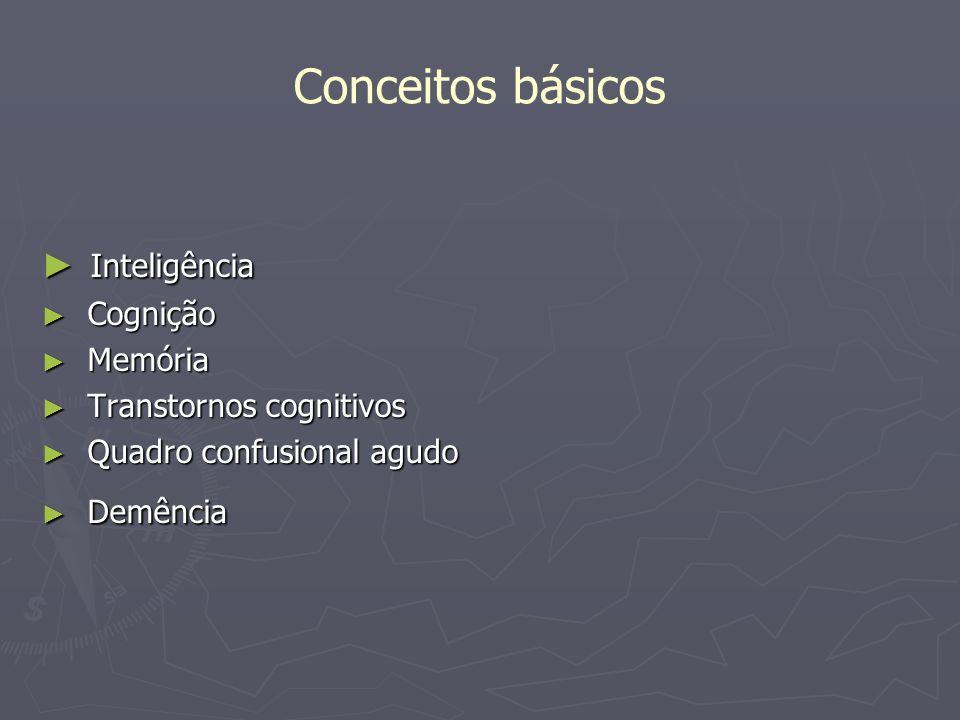 Conceitos básicos Inteligência Cognição Memória Transtornos cognitivos