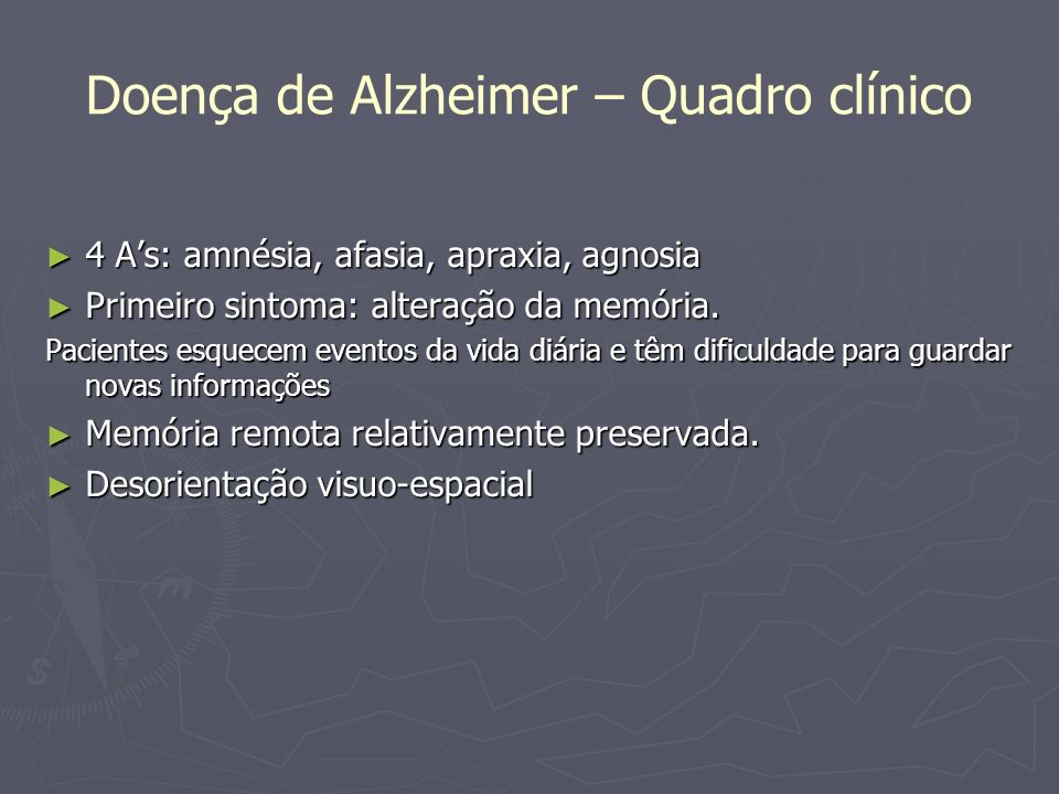 Doença de Alzheimer – Quadro clínico