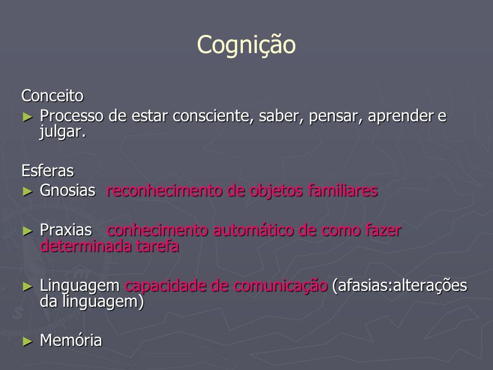 Cognição Conceito. Processo de estar consciente, saber, pensar, aprender e julgar. Esferas. Gnosias reconhecimento de objetos familiares.