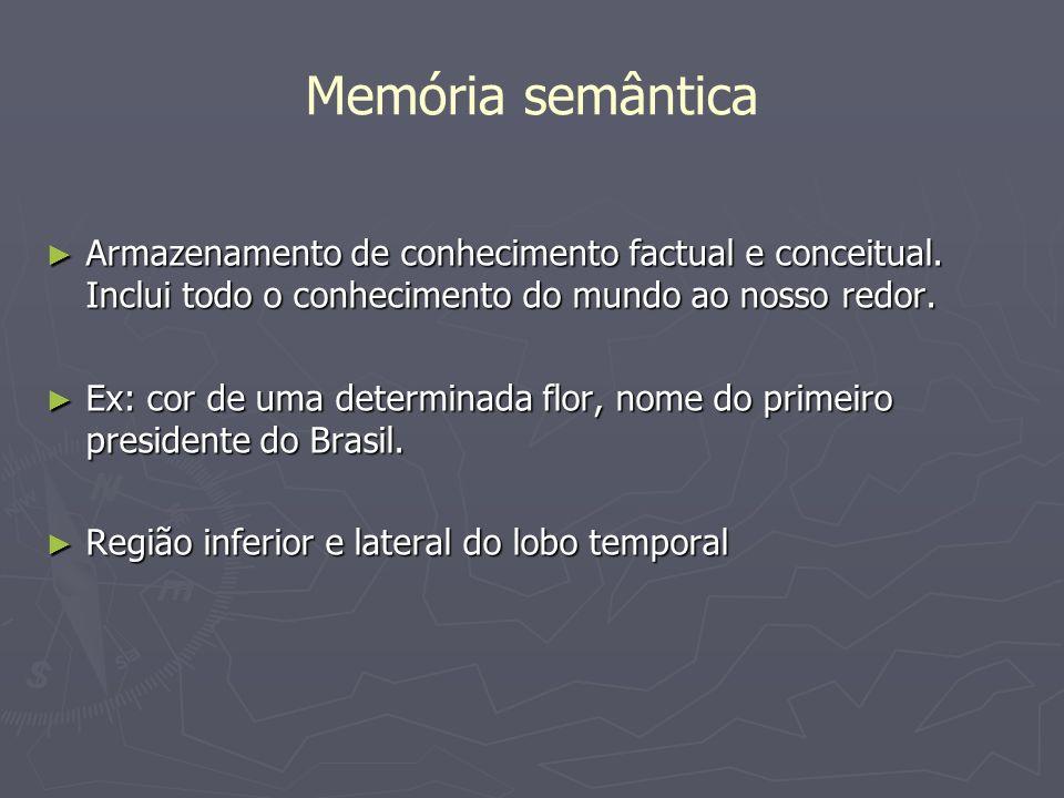 Memória semântica Armazenamento de conhecimento factual e conceitual. Inclui todo o conhecimento do mundo ao nosso redor.