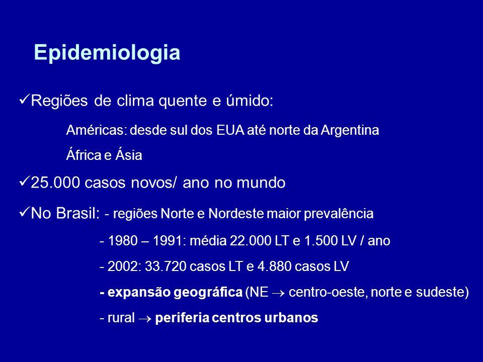 Epidemiologia Regiões de clima quente e úmido: