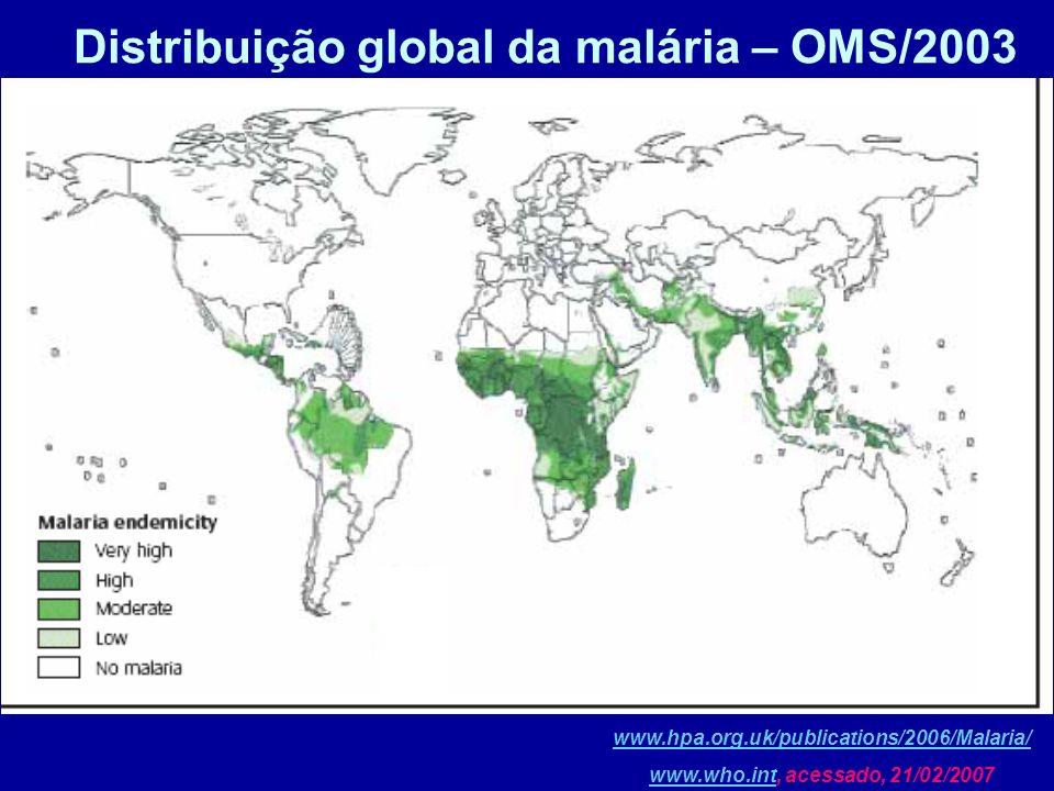Distribuição global da malária – OMS/2003