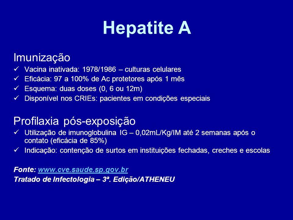 Hepatite A Imunização Profilaxia pós-exposição