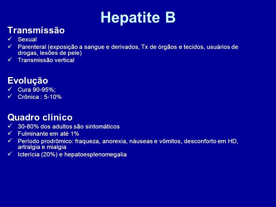 Hepatite B Transmissão Evolução Quadro clínico Sexual