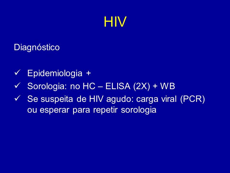 HIV Diagnóstico Epidemiologia + Sorologia: no HC – ELISA (2X) + WB