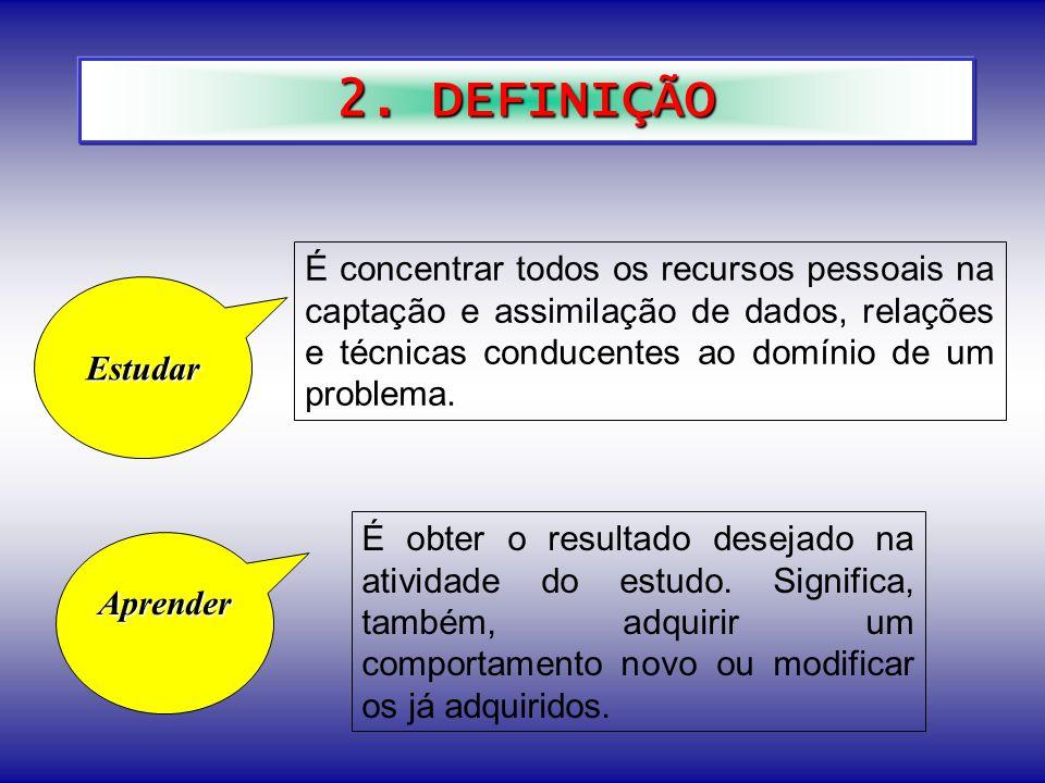 2. DEFINIÇÃO É concentrar todos os recursos pessoais na captação e assimilação de dados, relações e técnicas conducentes ao domínio de um problema.