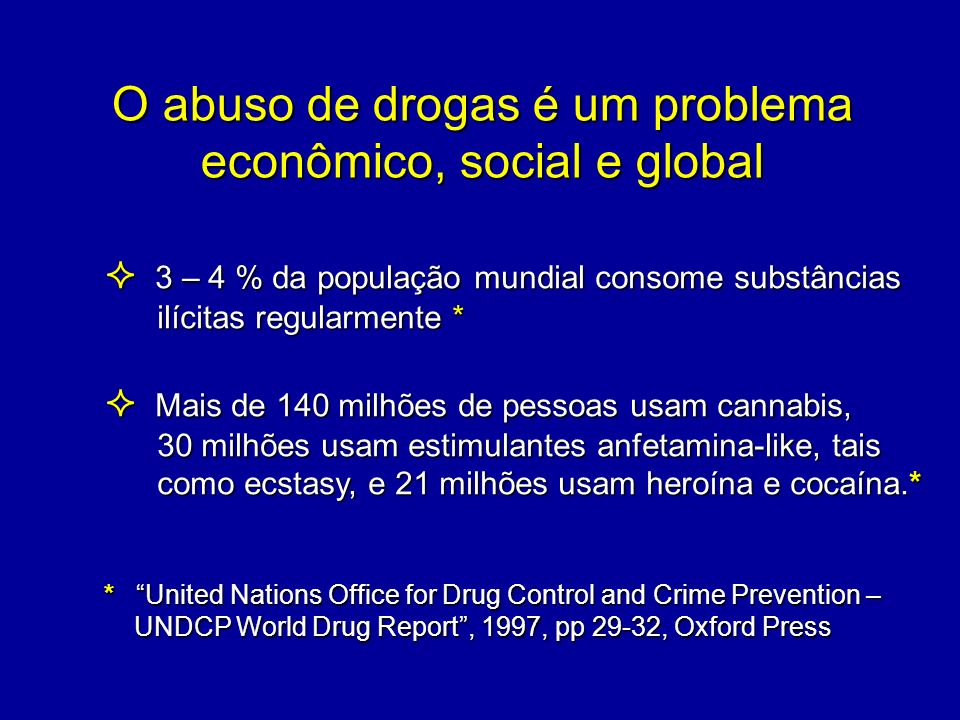 O abuso de drogas é um problema econômico, social e global