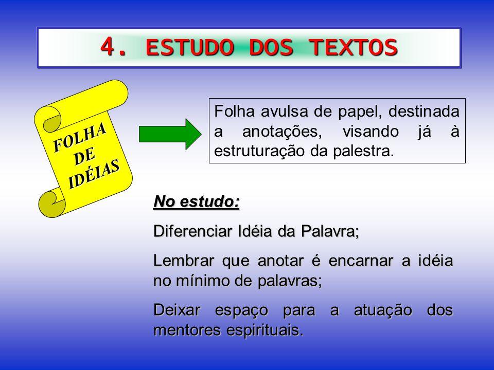 4. ESTUDO DOS TEXTOS FOLHA. DE. IDÉIAS. Folha avulsa de papel, destinada a anotações, visando já à estruturação da palestra.