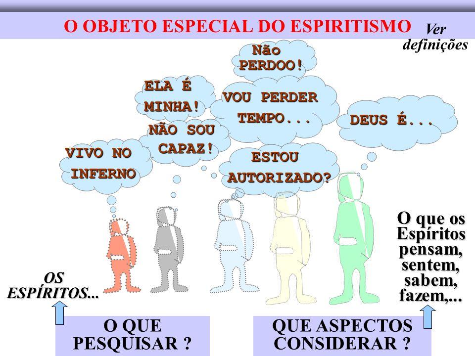 O OBJETO ESPECIAL DO ESPIRITISMO