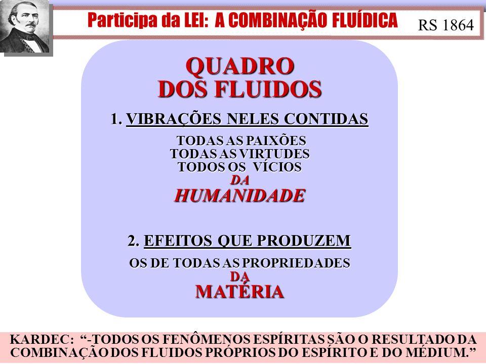 QUADRO DOS FLUIDOS Participa da LEI: A COMBINAÇÃO FLUÍDICA RS 1864