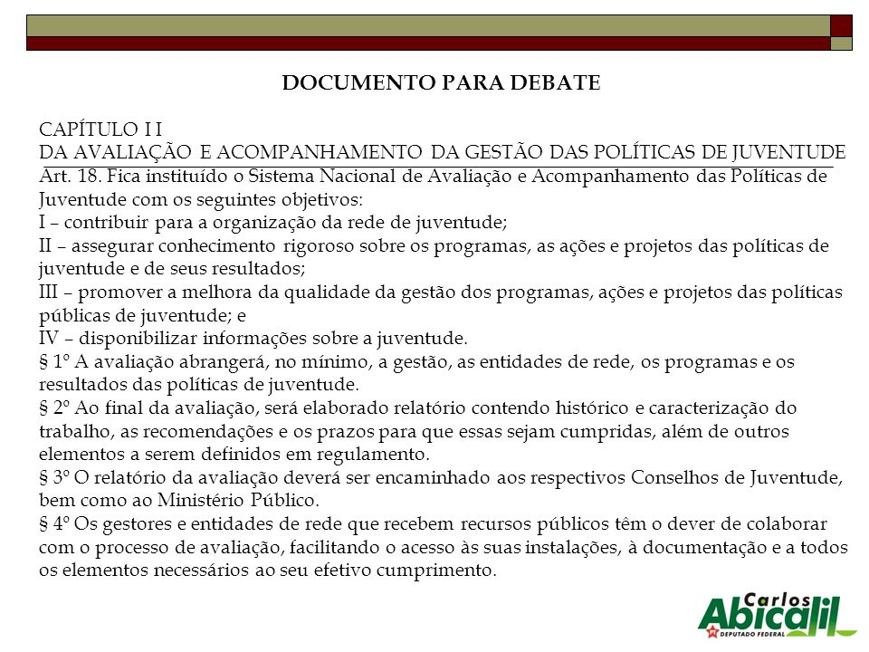 DOCUMENTO PARA DEBATE CAPÍTULO I I