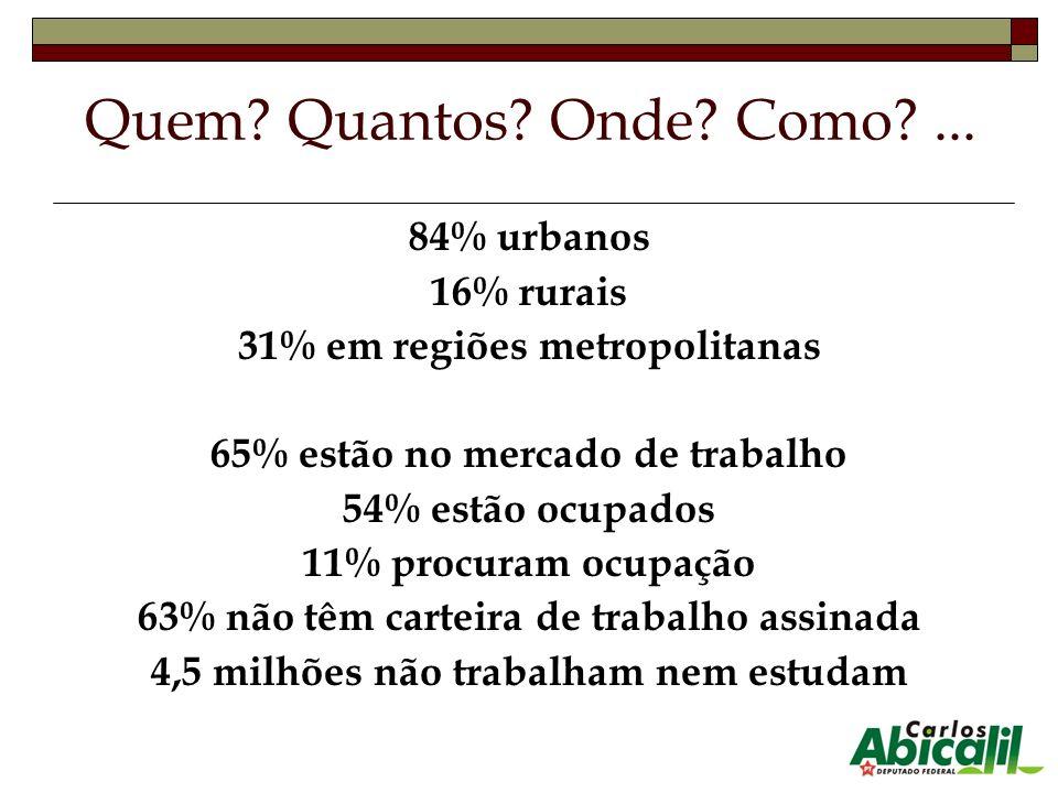 Quem Quantos Onde Como ... 84% urbanos 16% rurais