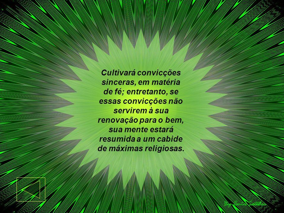 Cultivará convicções sinceras, em matéria de fé; entretanto, se essas convicções não servirem à sua renovação para o bem, sua mente estará resumida a um cabide de máximas religiosas.