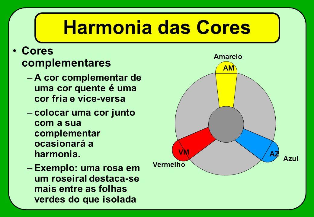 Harmonia das Cores Cores complementares