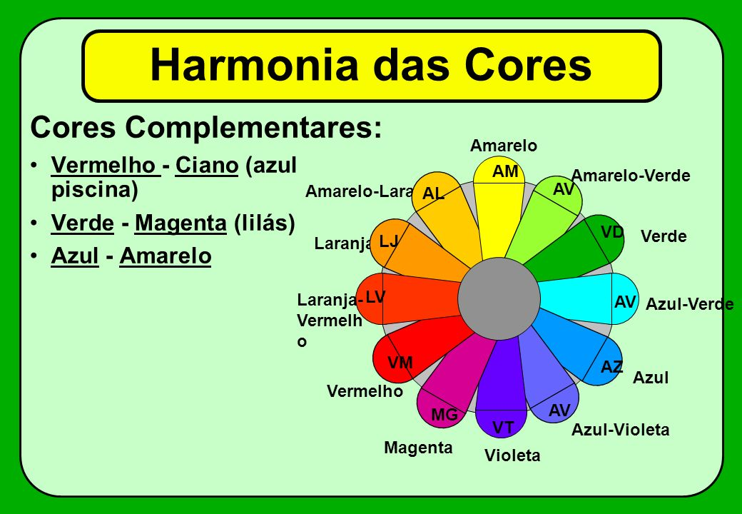 Harmonia das Cores Cores Complementares: