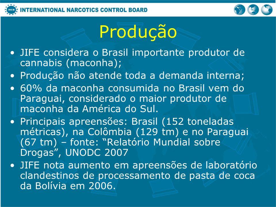 Produção JIFE considera o Brasil importante produtor de cannabis (maconha); Produção não atende toda a demanda interna;