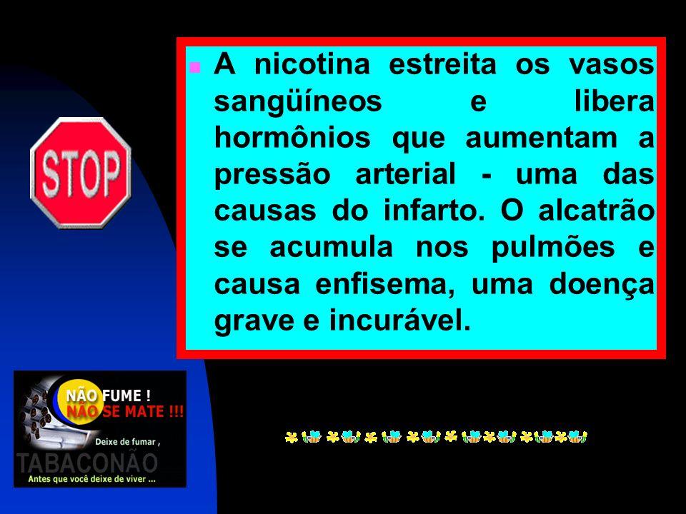 A nicotina estreita os vasos sangüíneos e libera hormônios que aumentam a pressão arterial - uma das causas do infarto.