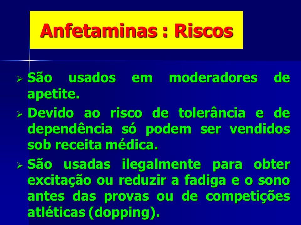 Anfetaminas : Riscos São usados em moderadores de apetite.