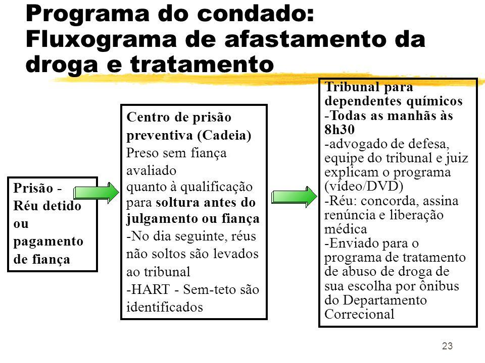 Programa do condado: Fluxograma de afastamento da droga e tratamento