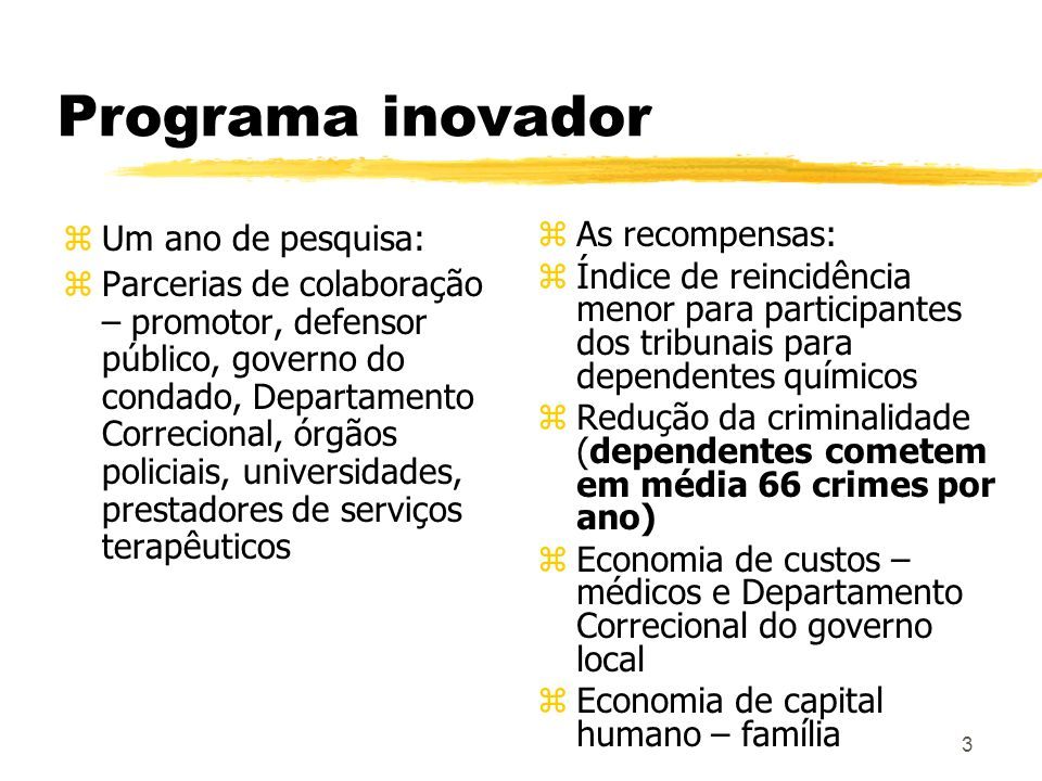 Programa inovador Um ano de pesquisa: