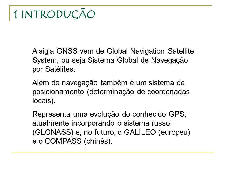 1 INTRODUÇÃO A sigla GNSS vem de Global Navigation Satellite System, ou seja Sistema Global de Navegação por Satélites.