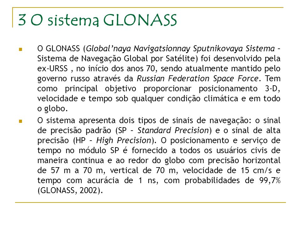 3 O sistema GLONASS