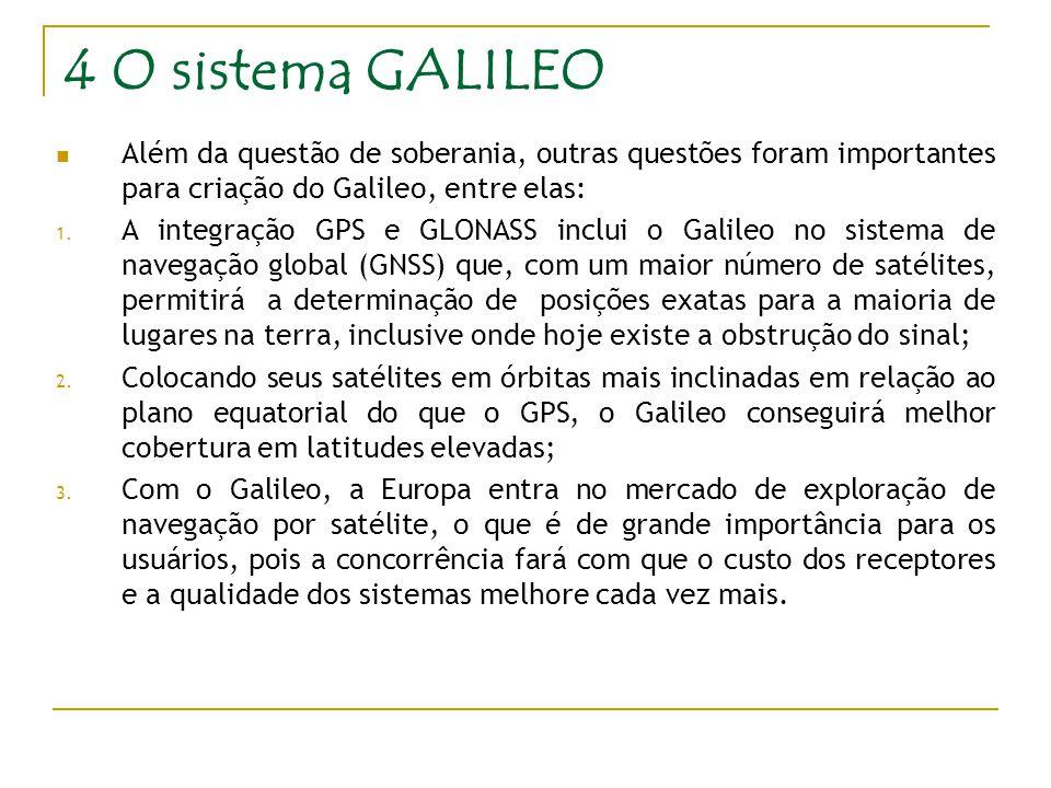 4 O sistema GALILEO Além da questão de soberania, outras questões foram importantes para criação do Galileo, entre elas: