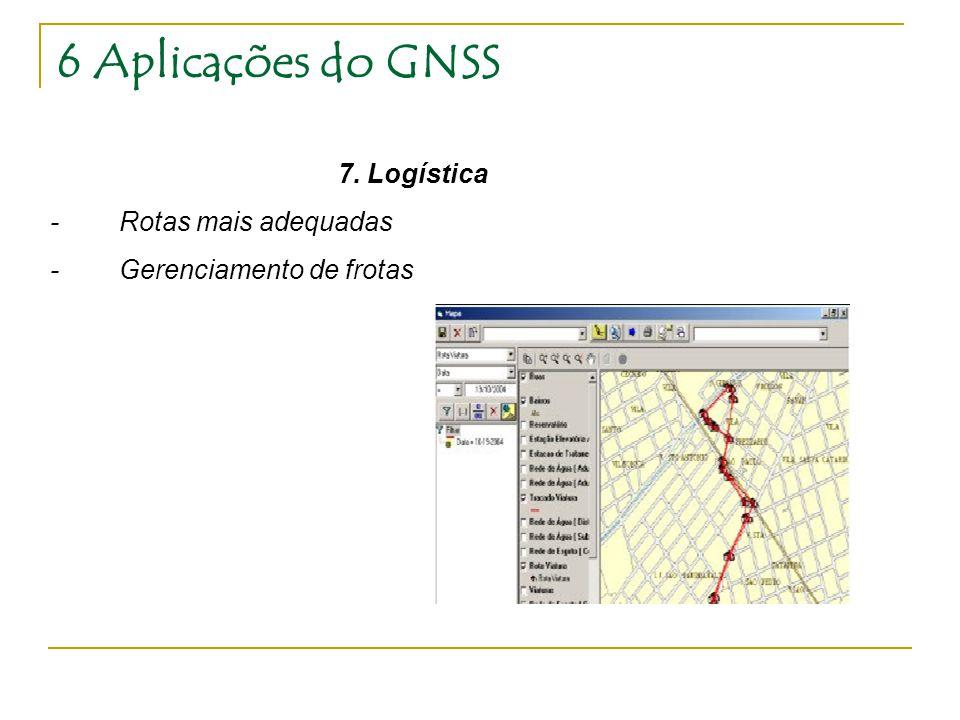 6 Aplicações do GNSS 7. Logística - Rotas mais adequadas