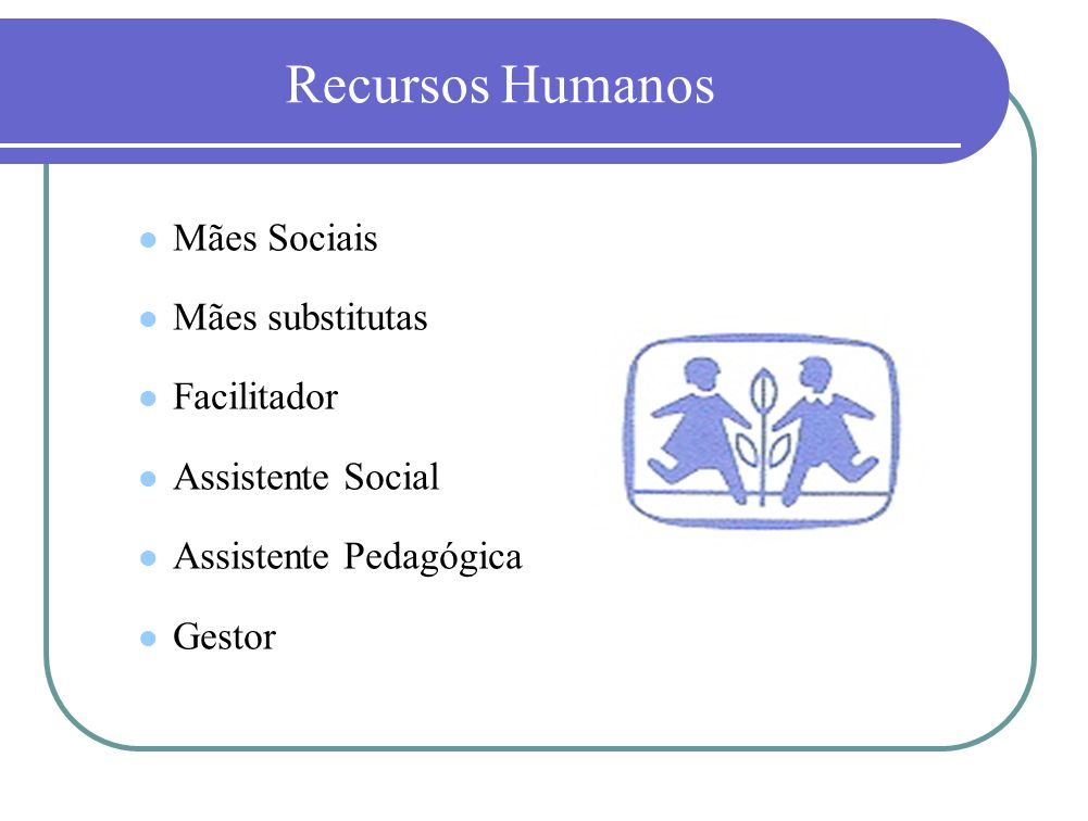 Recursos Humanos Mães Sociais Mães substitutas Facilitador