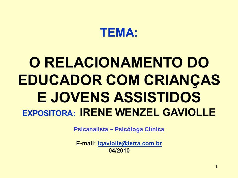 O RELACIONAMENTO DO EDUCADOR COM CRIANÇAS E JOVENS ASSISTIDOS