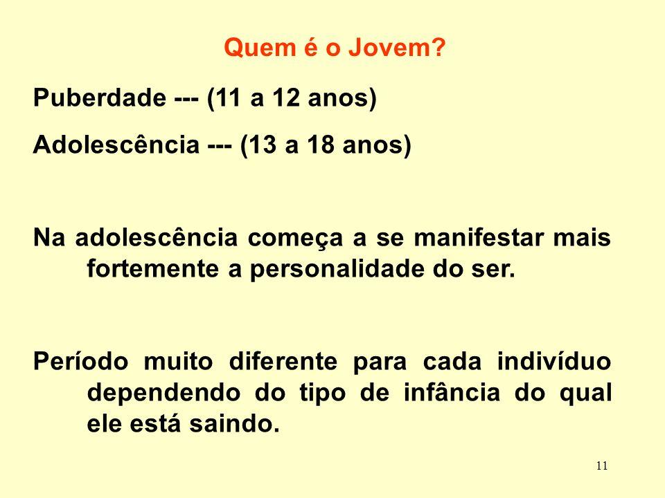 Quem é o Jovem Puberdade --- (11 a 12 anos) Adolescência --- (13 a 18 anos)