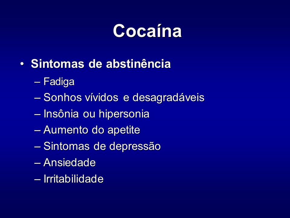Cocaína Sintomas de abstinência Sonhos vívidos e desagradáveis