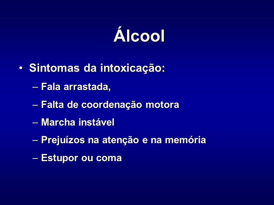 Álcool Sintomas da intoxicação: Fala arrastada,