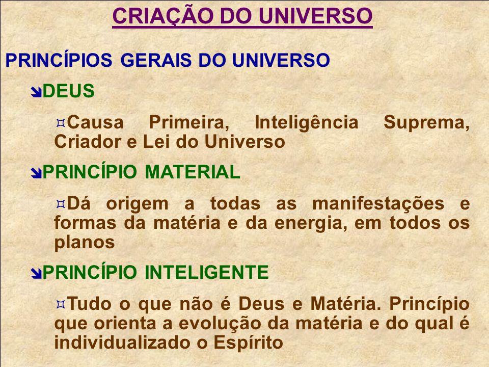 CRIAÇÃO DO UNIVERSO PRINCÍPIOS GERAIS DO UNIVERSO DEUS