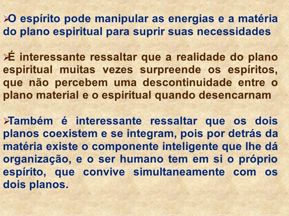 O espírito pode manipular as energias e a matéria do plano espiritual para suprir suas necessidades