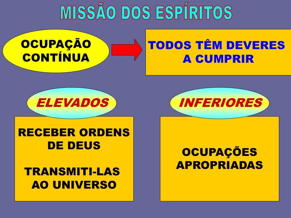 MISSÃO DOS ESPÍRITOS ELEVADOS INFERIORES OCUPAÇÃO TODOS TÊM DEVERES