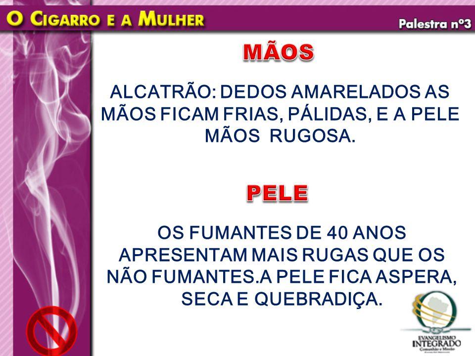 MÃOS ALCATRÃO: DEDOS AMARELADOS AS MÃOS FICAM FRIAS, PÁLIDAS, E A PELE MÃOS RUGOSA. PELE.
