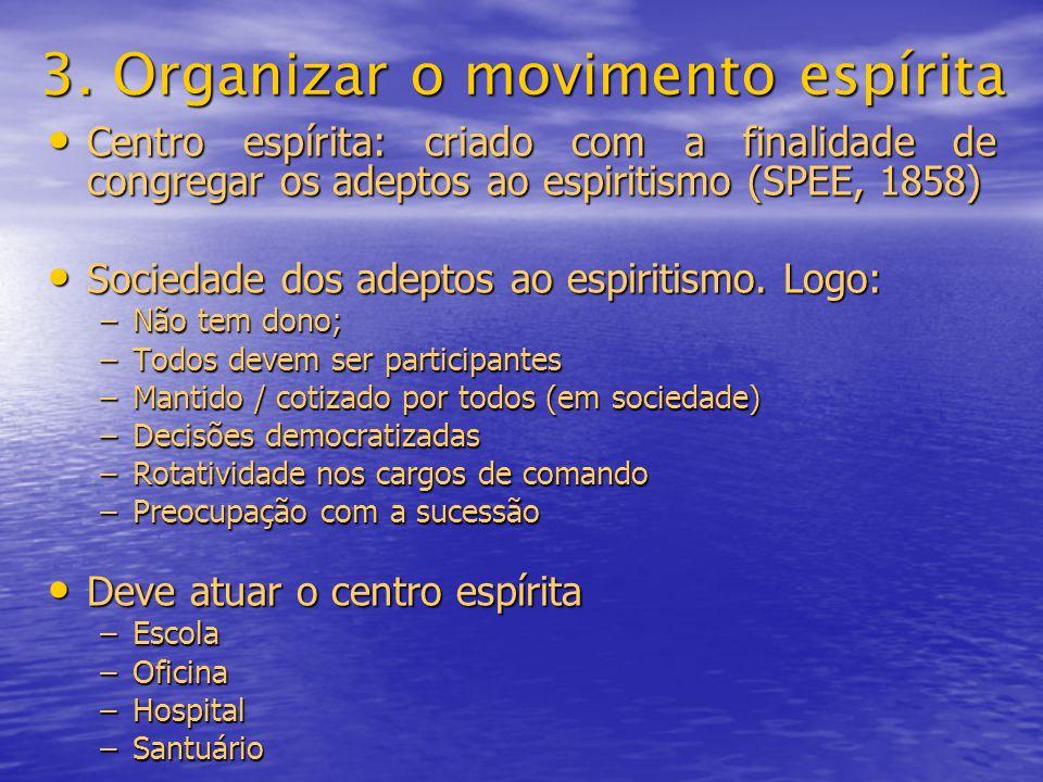 3. Organizar o movimento espírita