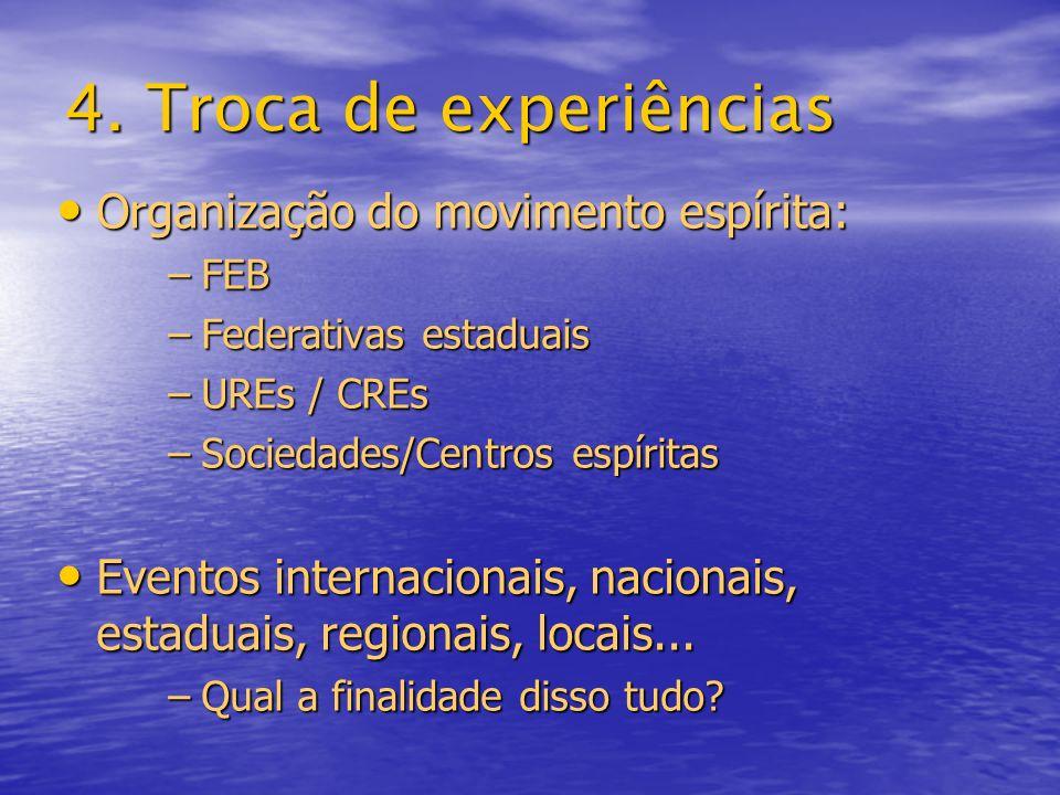 4. Troca de experiências Organização do movimento espírita:
