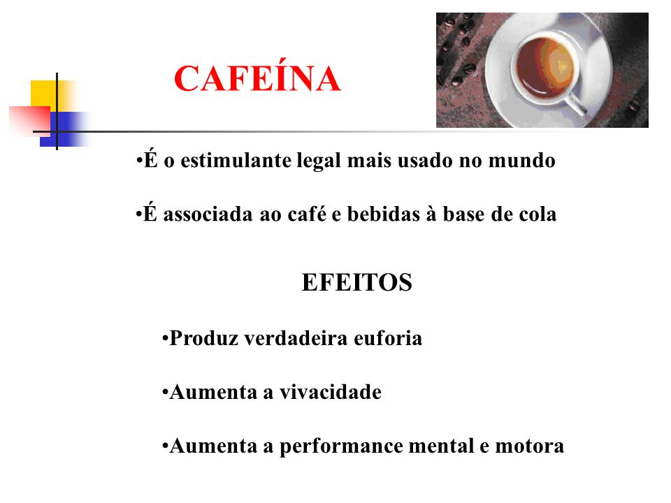 CAFEÍNA É o estimulante legal mais usado no mundo