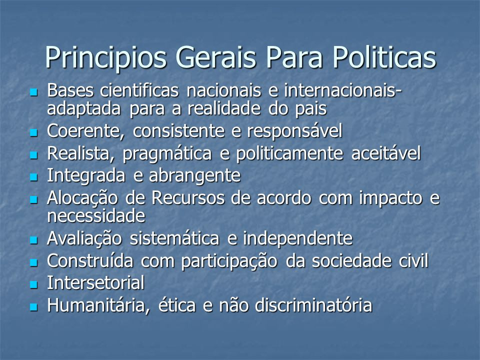 Principios Gerais Para Politicas