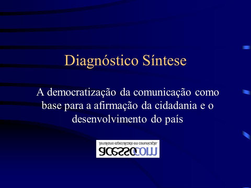 Diagnóstico Síntese A democratização da comunicação como base para a afirmação da cidadania e o desenvolvimento do país.