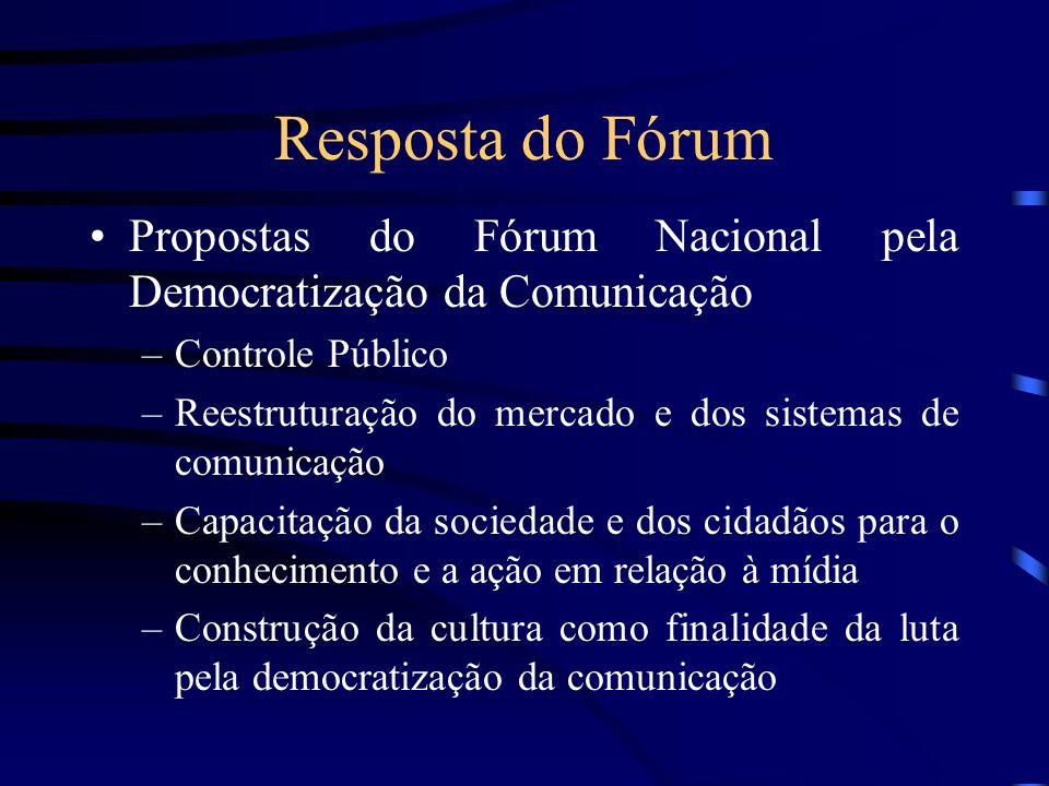 Resposta do Fórum Propostas do Fórum Nacional pela Democratização da Comunicação. Controle Público.