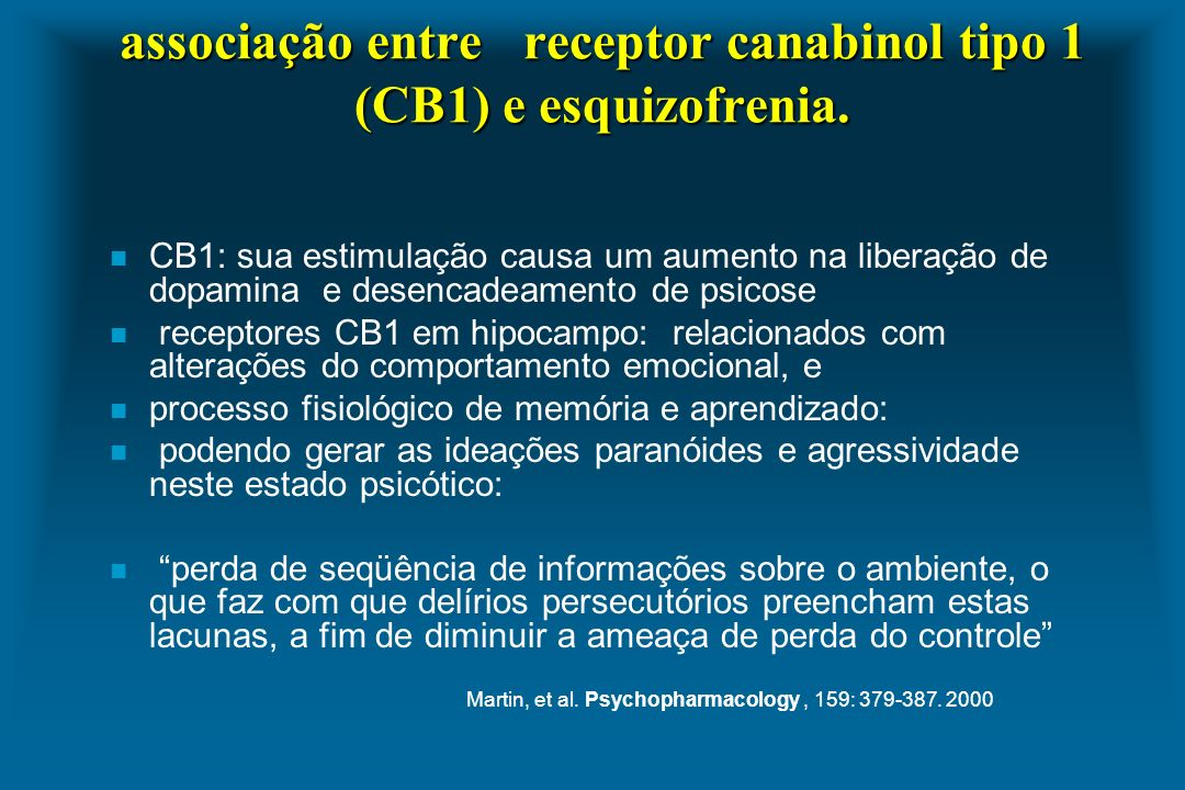 associação entre receptor canabinol tipo 1 (CB1) e esquizofrenia.