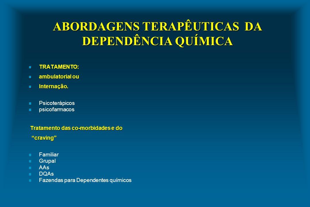 ABORDAGENS TERAPÊUTICAS DA DEPENDÊNCIA QUÍMICA