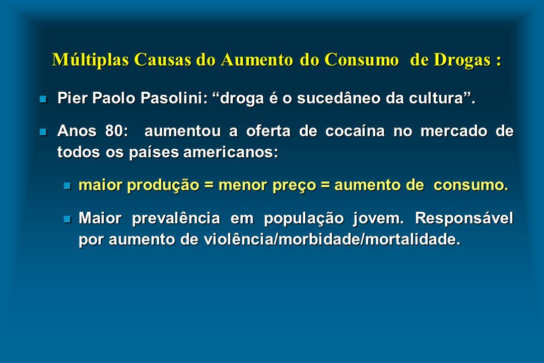Múltiplas Causas do Aumento do Consumo de Drogas :